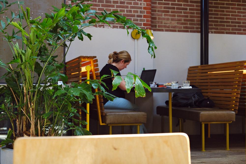 Wendy Kloezeman aan het werk bij flexwerklocatie Kanarieclub Amsterdam (Tessa Wiegerinck(